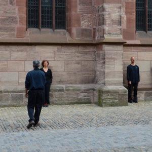 Die sichtbare Zeit -  Urban Perfomance von In-Zeit-Sprung am 29.4.18, Münsterplatz Basel